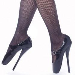 Fetish shoes ballet pump 7 inch heel adjustable buckle instep strap
