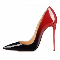 iHeels ELLIE-120BR Stiletto Heel Pumps Fading Black/Red