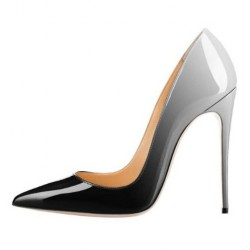 iHeels ELLIE-120BG Stiletto Heel Pumps Fading Black/Grey