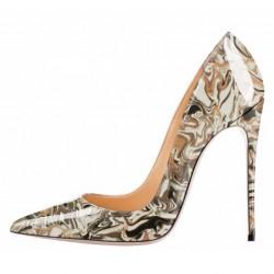 ELLIE Grey Abstract 12cm Stiletto Heel Pumps