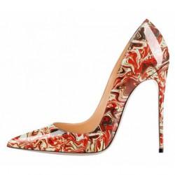 ELLIE Red Abstract 12cm Stiletto Heel Pumps
