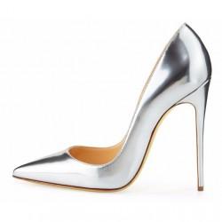 ELLIE Metallic Silver 12cm Stiletto Heel Pumps