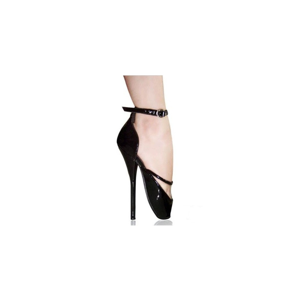 ba0bf3a9ce iHeels Fetish ballet pump 7 inch heel with ankle strap. Loading zoom