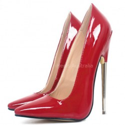 iHeels Fetish Pumps 7.2 Inch Metal Heel Red