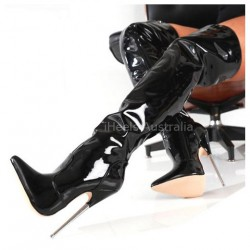 "DAGGER-TB18 Fetish Thigh Boots 7.2"" Metal Heel"