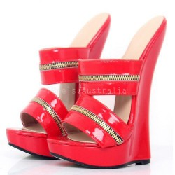"GAGA-18S Fetish 7.2"" Wedge Heel Slides"