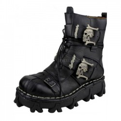 New Men Rock Gothic Motorcycle Boots Skull