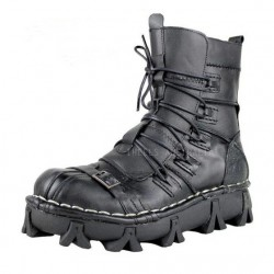 New Men Rock Gothic Motorcycle Boots Black