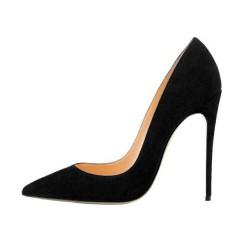 ELLIE-120SU Black Suede Pointy Toe 12cm Stiletto Heel Pumps