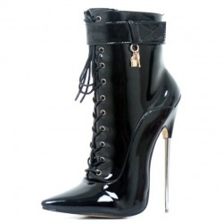 "DAGGER-AB18 Solid Brass Metal 7.2"" Stiletto Heel Ankle Boots"
