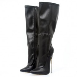 "DAGGER-KB18 Solid Brass Metal 7.2"" Stiletto Heel Knee Boots"