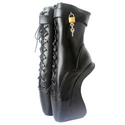 Fetish Ballet Boots Ankle Locking Hoof Wedge Heel Heeless