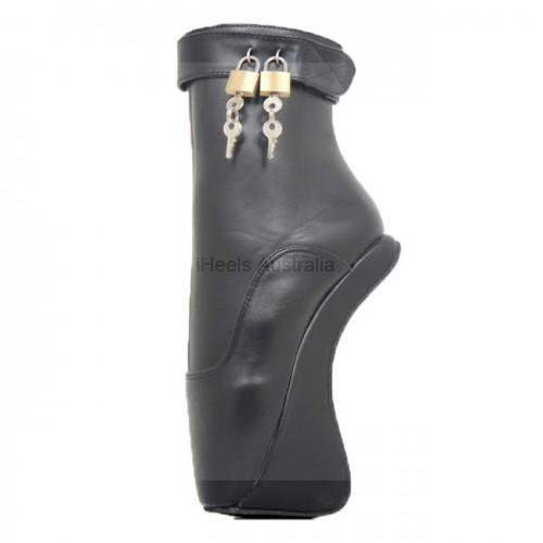 Fetish Ballet Boots Ankle Twin Locks Hoof Wedge Heel Heeless