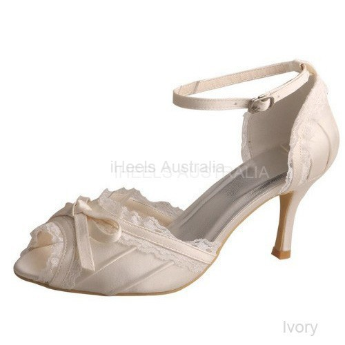 Ivory Bridal Shoes Mary Jane Peep Toe Pleated Satin Lace Bow 8cm Heel