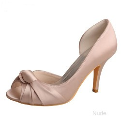 ELLEN-345 Nude Bridal Shoes Satin D'Orsay Peep Toe Cross-tied Knot 9cm Heel