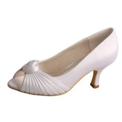 ELLEN-731 White Bridal Shoes Satin Peep Toe Pleated Cross-tied Knot Med Heel
