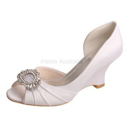 ELLEN-371 White Bridal Shoes Satin D'Orsay Peep Toe Art Deco Crystal Diamante Wedge Heel