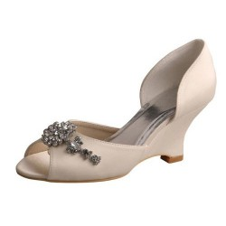 ELLEN-518 Ivory Bridal Shoes Satin D'Orsay Peep Toe Baroque Diamante Wedge Heel