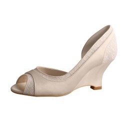ELLEN-854 Ivory Bridal Shoes Satin D'Orsay Peep Toe Retro Lace Wedge Heel
