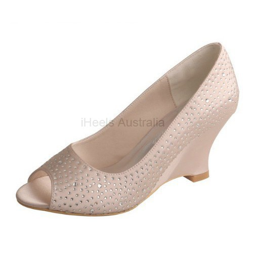 ELLEN-2027 Nude Bridal Shoes Satin Peep Toe Diamante 7.5cm Wedge Heel