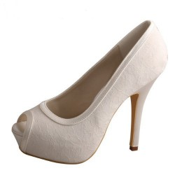 ELLEN-780 Ivory Bridal Shoes Satin Lace Peep Toe 12cm Heel 3cm Hidden Platform