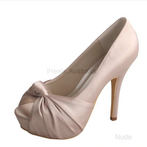 ELLEN-655 Nude Bridal Shoes Satin Peep Toe Cross-tied Knot 12cm Heel