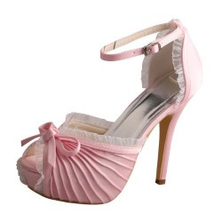 ELLEN-810 Pink Bridal Shoes Pleated Satin Peep Toe Ruffle Bow 12cm Heel