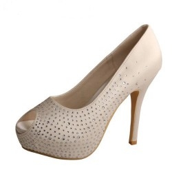 ELLEN-273 Ivory Bridal Shoes Satin Diamante Peep Toe 12cm Heel 3cm Hidden Platform