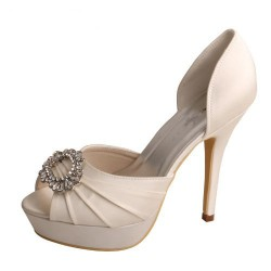 ELLEN-273 Pleated Peep Toe Art Deco Diamante 12cm Heel