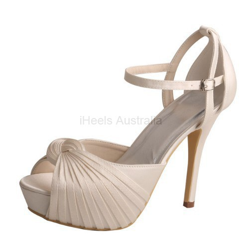 ELLEN-311 Ivory Bridal Shoes Satin Peep Toe Cross-tied Knot 12cm Heel