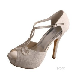 ELLEN-450 Ivory Bridal Shoes Satin Lace Peep Toe T-Strap 12cm Heel