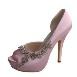 ELLEN-612 Light Purple Bridal Shoes Satin D'Orsay Peep Toe Brooch Diamante 12cm Heel