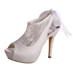 ELLEN-510 White Satin Bridal Shoes Peep Toe Back Lace Up 12cm Heel