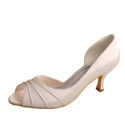 ELLEN-789 Ivory Satin Bridal Shoes D'Orsay Pleated Peep Toe 6.5cm Heel