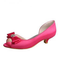ELLEN-778 Hot Pink Satin D'Orsay Bow Diamante Low Heel