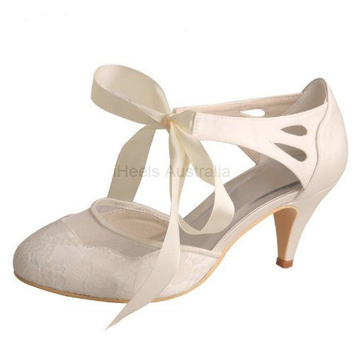 ELLEN-561 Bridal Shoes Ivory Satin Lace Mary Janes Ribbon 7cm Heel