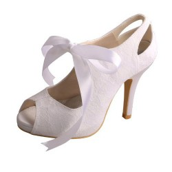 ELLEN-860 White Bridal Shoes Satin Lace Mary Jane Peep Toe Ribbon 10cm Heel