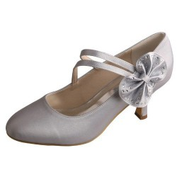 ELLEN-1251 Silver Satin Bridal Shoes Mary Jane Butterfly Knot 6.5cm Heel