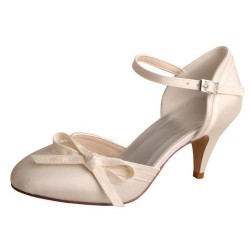 ELLEN-628 Beige Satin Bridal Shoes Mary Jane Ribbon Bow Pumps 7cm Heel