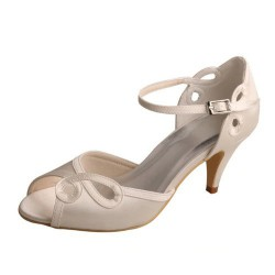 ELLEN-590 Beige Satin Bridal Shoes Mary Jane Open Toe Cutouts Med Heel