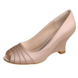 ELLEN-1419 Nude Satin Bridal Shoes Wedges Pleated Peep Toe
