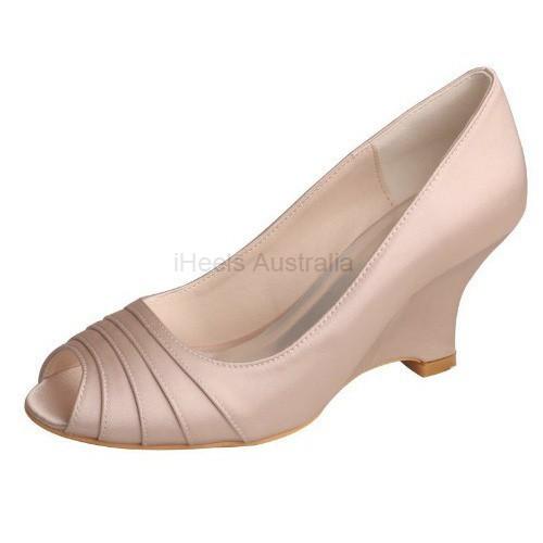 ELLEN-1419 Nude Satin Bridal Shoes Wedges Pleated Peep Toe