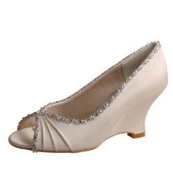 ELLEN-292 Beige Satin Bridal Shoes Diamante Trimed Peep Toe Wedges