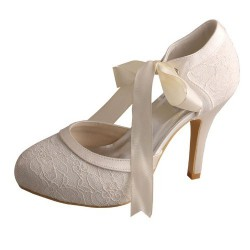 ELLEN-705 Ivory Satin Lace Ribbon Bridal Shoes Mary Jane Pumps 10cm Heel