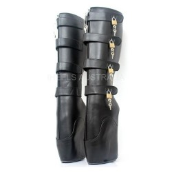 BDSM Locking Ballet Boots Hoof Heeless Black