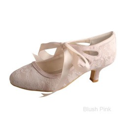ELLEN-376 Blush Pink Satin Lace Ribbon Bridal Shoes Mary Jane 5cm Heel
