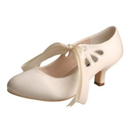 ELLEN-7051 Beige Satin Bridal Shoes Mary Jane Ribbon 5cm Heel
