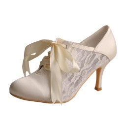 ELLEN-869 Ivory Satin Bridal Shoes Mary Jane Lace Ribbon Booties