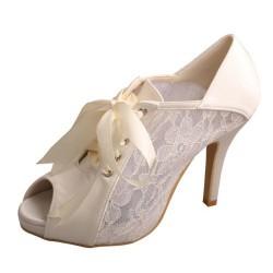 ELLEN-V19 Ivory Satin Lace Mary Jane Peep Toe Ribbon High Heel Bridal Booties