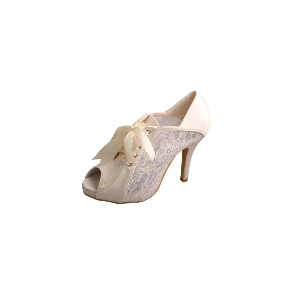 Details about BRIDAL WEDDING SHOES HEELS BOOTIES PEEP TOE MARY JANE LACE RIBBON *return AU*
